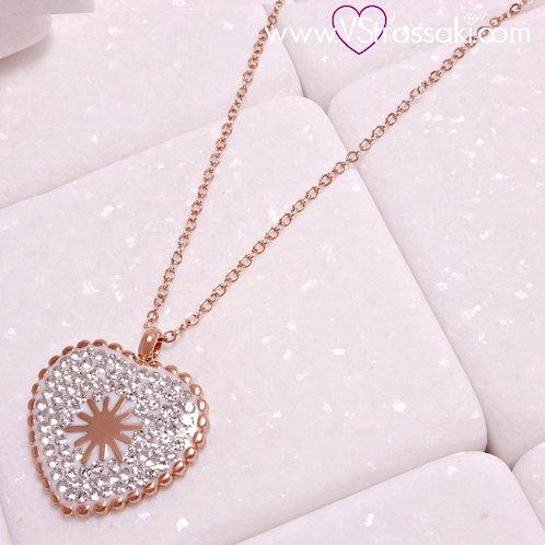 Ατσάλινο Κοντό Κολιέ Με Καρδιά Ροζ Χρυσό 4296