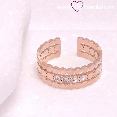 Ατσάλινο Δαχτυλίδι Τρίσειρο με Κύκλους Ροζ Χρυσό 2292