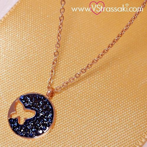 Ατσάλινο Κοντό Κολιέ Με Πεταλούδα Ροζ Χρυσό, Σκούρο Μπλε 4184