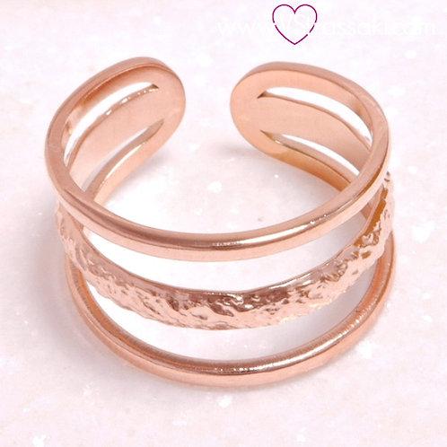 Τριπλό Ατσάλινο Δαχτυλίδι Ροζ Χρυσό 2188