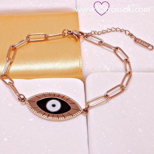 Ατσάλινο Βραχιόλι Αλυσίδα Με Μάτι Ροζ Χρυσό 6174