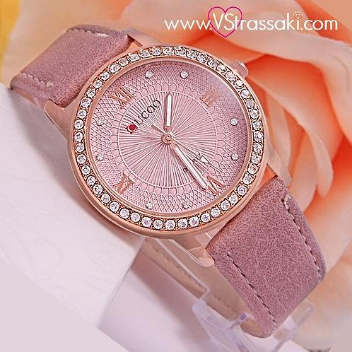 Γυναικείο Ρολόι CUCOO Με Λουράκι Δερματίνη SpringTime Ροζ Χρυσό 5009