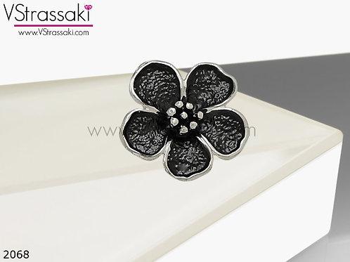 Δαχτυλίδι Μεταλλικό Με Λουλούδι RoundFlower Μαύρο Ασημί 02068