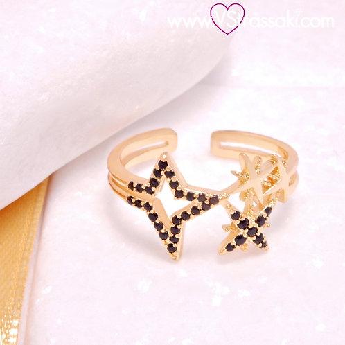 Δαχτυλίδι με Αστέρια από Ορείχαλκο και Μαύρα Ζιργκόν Χρυσό 2267
