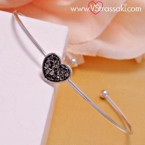 Βραχιόλι Χειροπέδα από Ορείχαλκο Slim Bracelet Ασημί 6104
