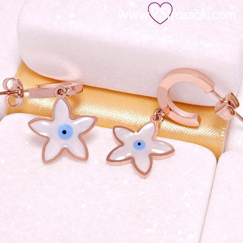 Ατσάλινα Σκουλαρίκια με Αστέρι και Ματάκι Κοντά 3.4cm Ροζ Χρυσό, Λευκό 3260