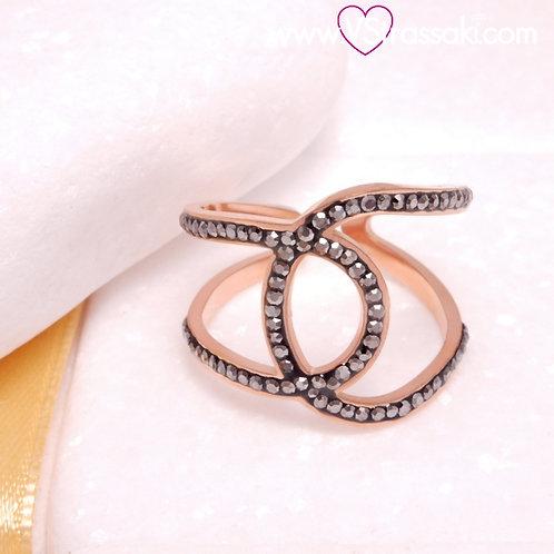 Ατσάλινο Δαχτυλίδι με Γεωμετρικό Σχέδιο Ροζ Χρυσό 2269