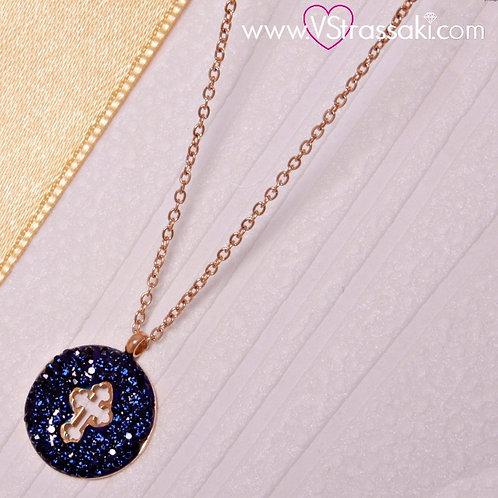 Ατσάλινο Κοντό Κολιέ Με Σταυρό Ροζ Χρυσό, Σκούρο Μπλε 4206
