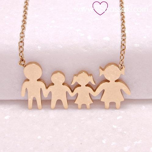 Ατσάλινο Κοντό Κολιέ Οικογένεια με Ένα Αγόρι και Ένα Κορίτσι Χρυσό 4340