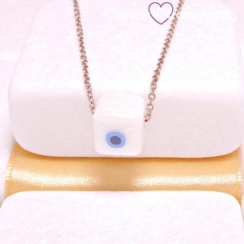 Ατσάλινο Κολιέ Με Κεραμικό Κύβο Ματάκι Λευκό, Ροζ Χρυσό 4432