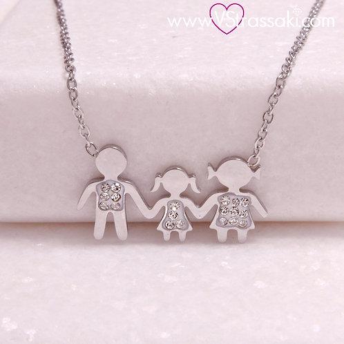 Ατσάλινο Κοντό Κολιέ Οικογένεια με Ένα Κορίτσι Ασημί 4285