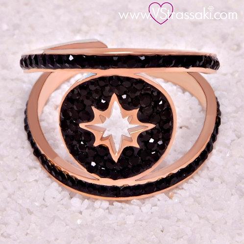 Ατσάλινο Δαχτυλίδι με τον Βόρειο Πολικό Αστέρα, Αστέρι του Βορρά Ροζ Χρυσό 2140