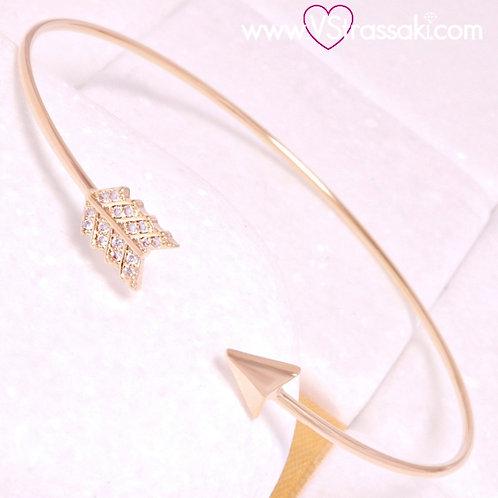 Βραχιόλι Χειροπέδα με Βέλος από Ορείχαλκο Slim Bracelet Χρυσό 6370