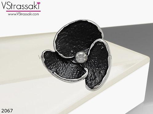 Δαχτυλίδι Μεταλλικό Με Λουλούδι ExoticFlower Μαύρο Ασημί 02067