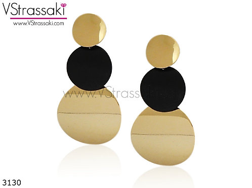 Σκουλαρίκια Μακριά 7cm DotRows Χρυσό Μαύρο 3130