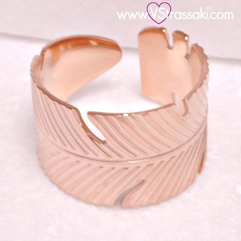 Ατσάλινο Δαχτυλίδι Φύλλο Ροζ Χρυσό 2252