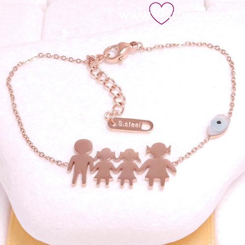 Ατσάλινο Βραχιόλι Οικογένεια με Δύο Κορίτσια και Ματάκι Ροζ Χρυσό 6403