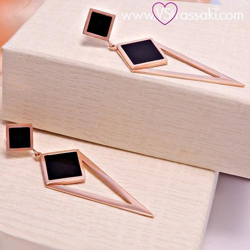 Σκουλαρίκια Μακριά 5.5cm Steel Earrings Από Ανοξείδωτο Ατσάλι Ροζ Χρυσό 3165