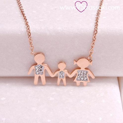 Ατσάλινο Κοντό Κολιέ Οικογένεια με Ένα Αγόρι Ροζ Χρυσό 4288