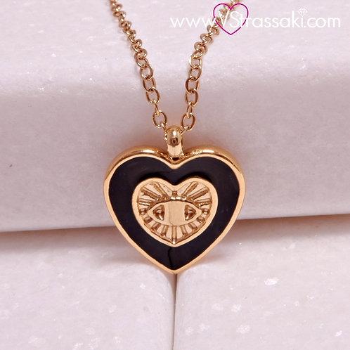 Ατσάλινο Κοντό Κολιέ Με Καρδιά και Ματάκι Χρυσό, Μαύρο 4309