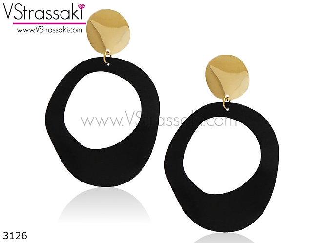 Σκουλαρίκια Μακριά 8.5cm CreasedHoops Χρυσό Μαύρο 3126