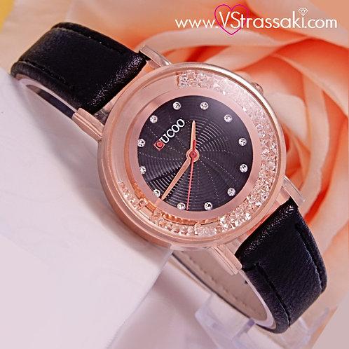 Γυναικείο Ρολόι CUCOO Με Λουράκι Δερματίνη SparkleTime Ροζ Χρυσό 5012
