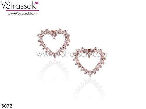 Σκουλαρίκια Καρφωτά 1cm LoveHeart Ροζ Χρυσό Με Καρφάκι Από 925 Ασήμι 3072