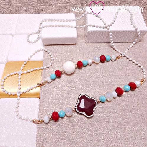 Μακρύ Κολιέ με Σταυρό και Χάντρες Λευκό, Κόκκινο 4276