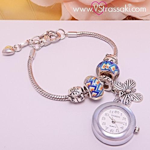 Γυναικείο Ρολόι Vintage Style Με Πεταλούδα FairyTime Ασημί 5032