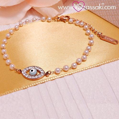Ατσάλινο Βραχιόλι Ροζάριο με Ματάκι και Λευκές Πέρλες Ροζ Χρυσό 6170