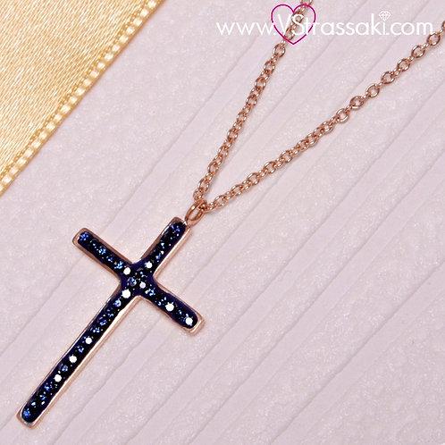 Ατσάλινο Κοντό Κολιέ Με Σταυρό Ροζ Χρυσό, Σκούρο Μπλε 4197