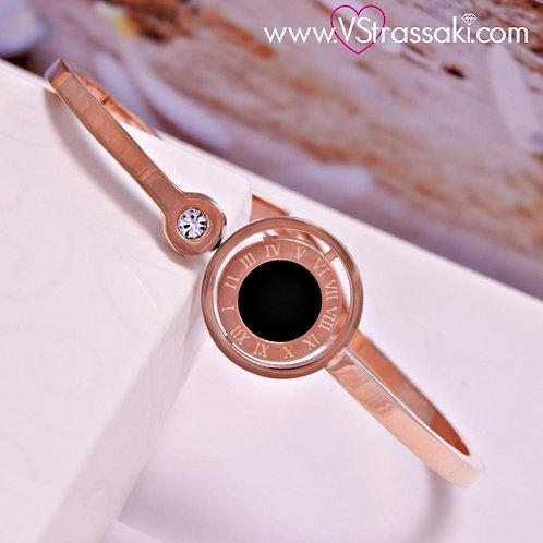 Βραχιόλι Χειροπέδα από Ανοξείδωτο Ατσάλι Galaxy Bracelet Ροζ Χρυσό 6072