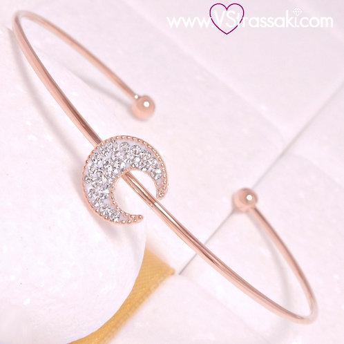 Βραχιόλι Χειροπέδα με Φεγγάρι από Ορείχαλκο Slim Bracelet Ροζ Χρυσό 6360