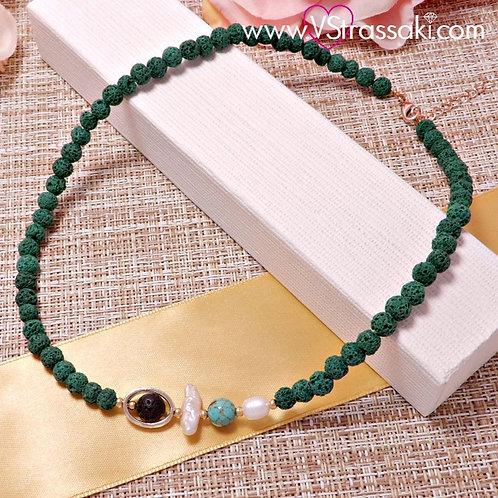 Κολιέ με Λάβα σε Πράσινο Χρώμα 4174