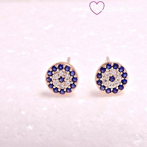 Σκουλαρίκια Καρφωτά 0.6cm BlueEyes Ροζ Χρυσό Με Καρφάκι Από 925 Ασήμι 3333