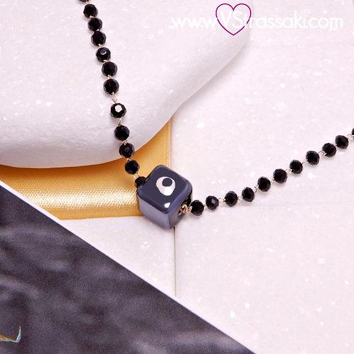 Ατσάλινο Κοντό Κολιέ με Κεραμικό Κύβο Ματάκι και Αλυσίδα Ροζάριο 4454