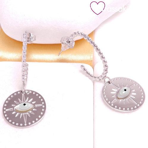 Ατσάλινα Σκουλαρίκια με Μάτι Midi 4.4cm Ασημί 3361