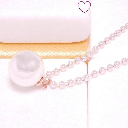 Ατσάλινο Κοντό Κολιέ Ροζάριο με Πέρλα Ροζ Χρυσό, Λευκό 4416