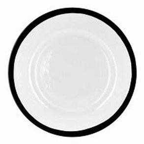 BLACK RIM GLASS CHARGER PLATES