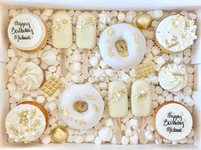 White & Gold Birthday TREAT BOX