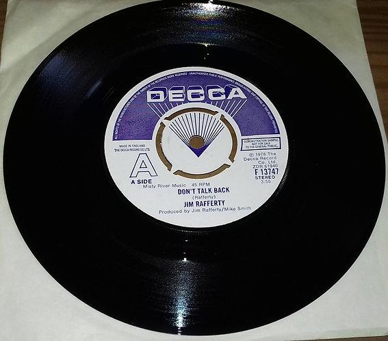 "Jim Rafferty - Don't Talk Back / Bad Bad Mover (7"", Promo) (Decca)"