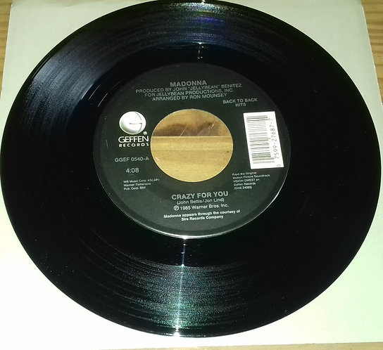 "Madonna - Crazy For You / Gambler (7"") (Geffen Records)"