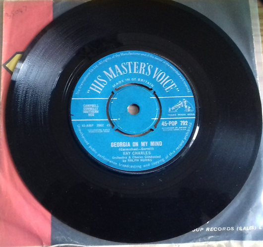 """Ray Charles - Georgia On My Mind / Carry Me Back To Old Virginny (7"""", Single) (H"""