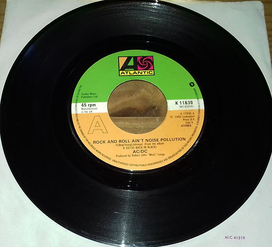 """AC/DC - Rock And Roll Ain't Noise Pollution / Hells Bells (7"""", Single, Cen) (At"""