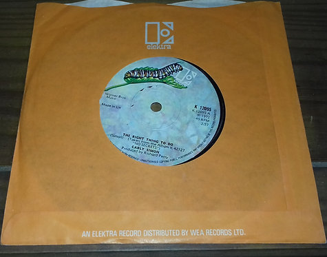 """Carly Simon - The Right Thing To Do (7"""", Sol) (Elektra)"""
