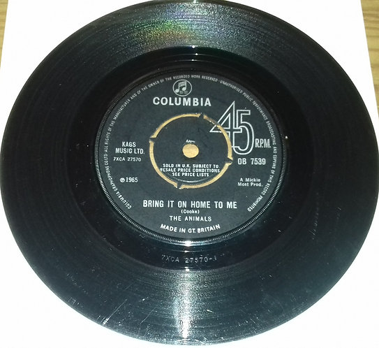 """The Animals - Bring It On Home To Me (7"""", Single) (Columbia)"""