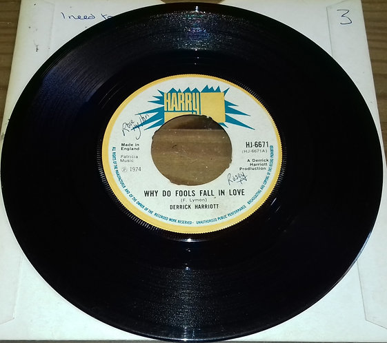 """Derrick Harriot* - Why Do Fools Fall In Love (7"""", Single, 4-p) (Harry J Records)"""