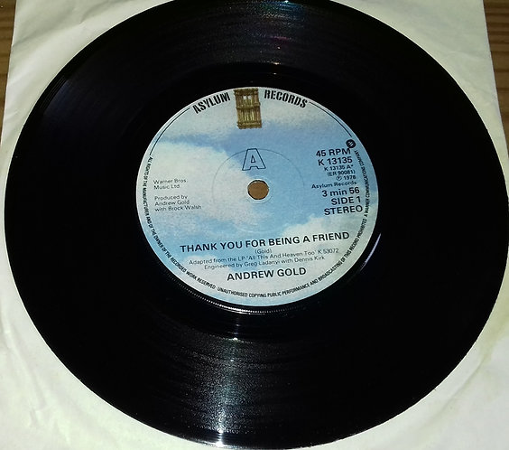 "Andrew Gold - Thank You For Being A Friend (7"", Single) (Asylum Records)"