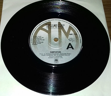 """Carpenters - There's A Kind Of Hush (All Over The World) (7"""", Single) (A&M Reco"""