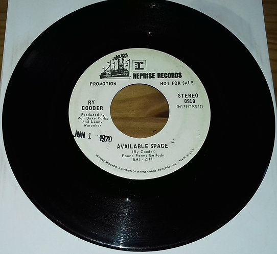 """Ry Cooder - Available Space (7"""", Single, Promo) (Reprise Records)"""